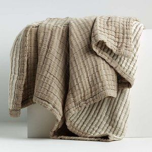 Crate and Barrel Ardine Natural Bed Throw